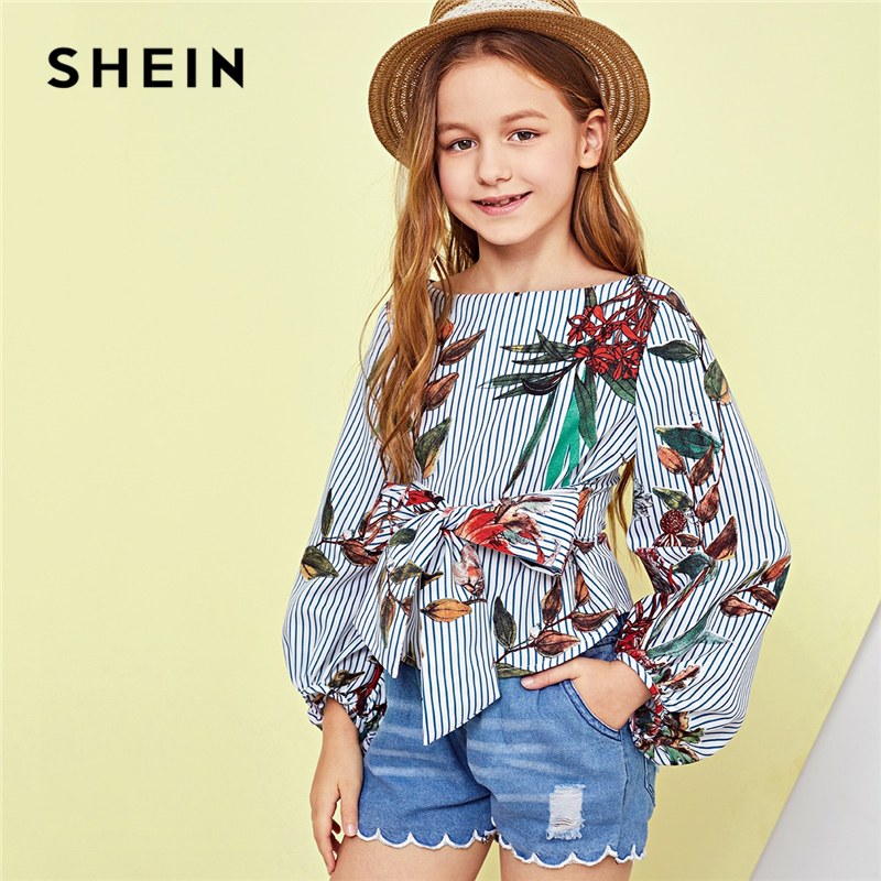 цена SHEIN Kiddie Tie Waist Zip Back Floral Print Zipper Vacation Blouse Girls Tops 2019 Spring Long Sleeve Tee Shirts Kids Clothes