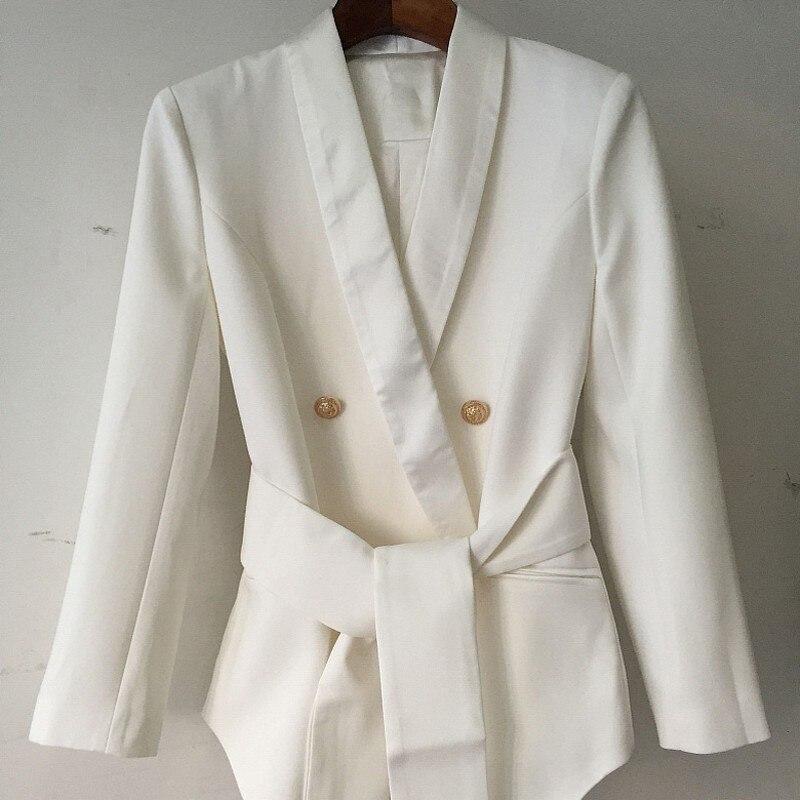 Металлический двубортный Блейзер Elegantes Mujer, шаль, воротник, качество, офисные женские пояса, Женский блейзер, приталенный, плюс размер, S XXL - 4