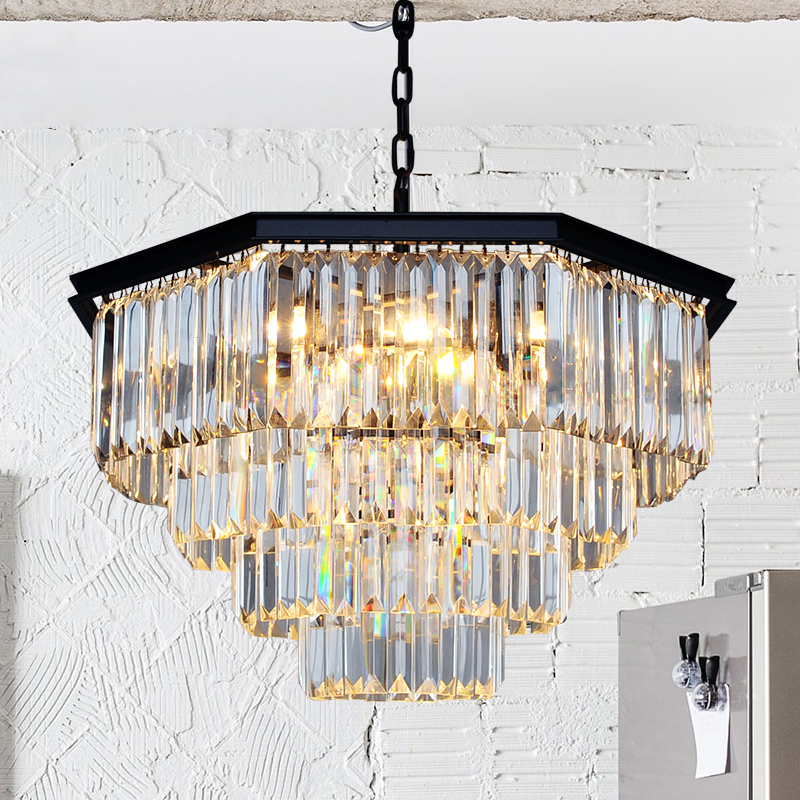 T American Retro Crystal Pendant Light Black Iron For Bedroom Dining Room Living Room Led Bulb Included Creative