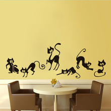 Dream home hot style bedroom living room waist line cute funny elf cat wall paste