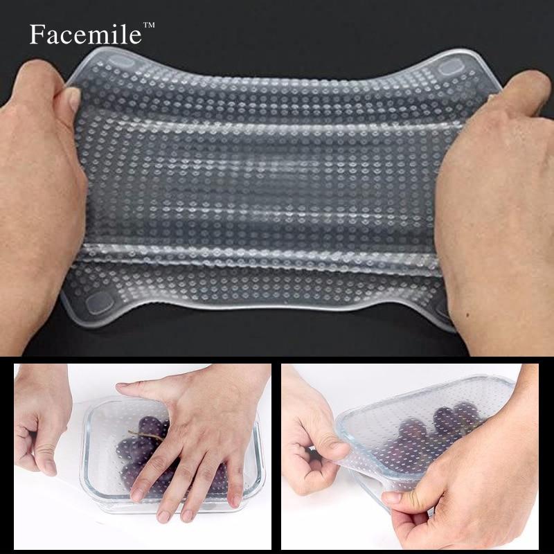 4PCS / सेट ताजा खाद्य कवर पुन: प्रयोज्य साफ वायुरोधी फिट करने के लिए विस्तार विभिन्न आकार खाद्य ग्रेड सिलिकॉन खिंचाव ढक्कन सारन लपेटता