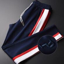 Minglu ניגודיות צבע איש מכנסיים בתוספת גודל 4xl יוקרה משיי בד אביב גברים מכנסי קזואל גובה איכות Slim Fit Mens מכנסיים