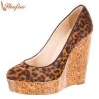 Thick Sole Shoes Classic Women Platform Shoes Kate Wedge Heels Clogs Leopard Round Toe Women Dress