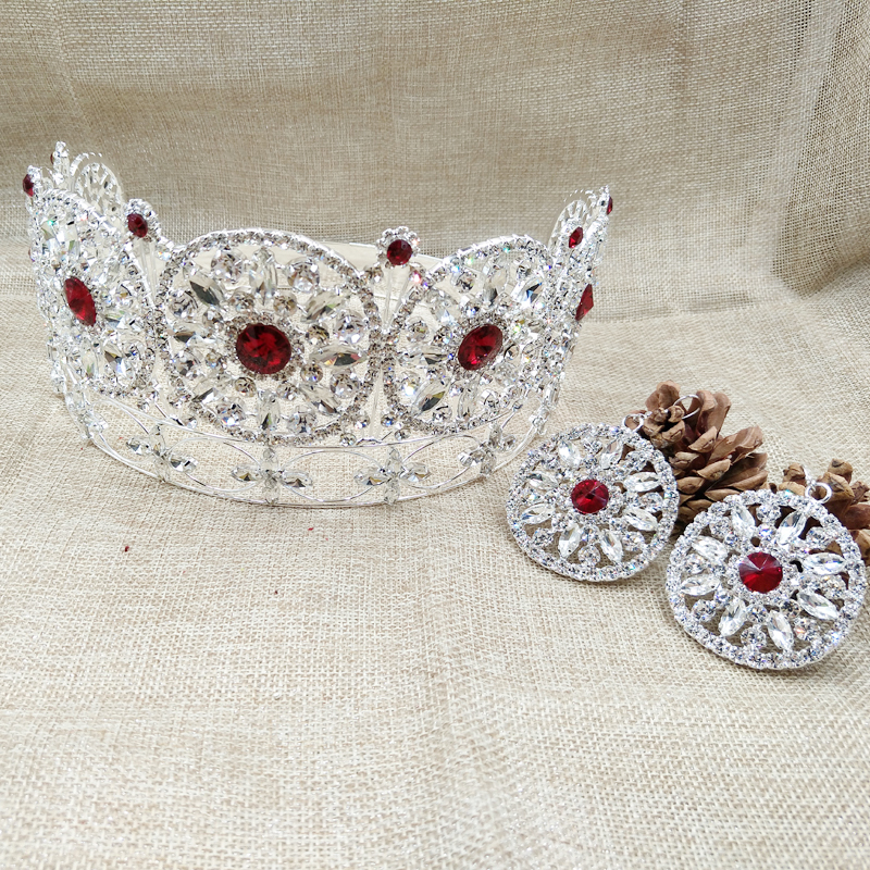 Grande couronne rouge noble pageant miss world strass ronde couronne de diadème + boucle d'oreille assortie en couleur rose/rouge/blanc