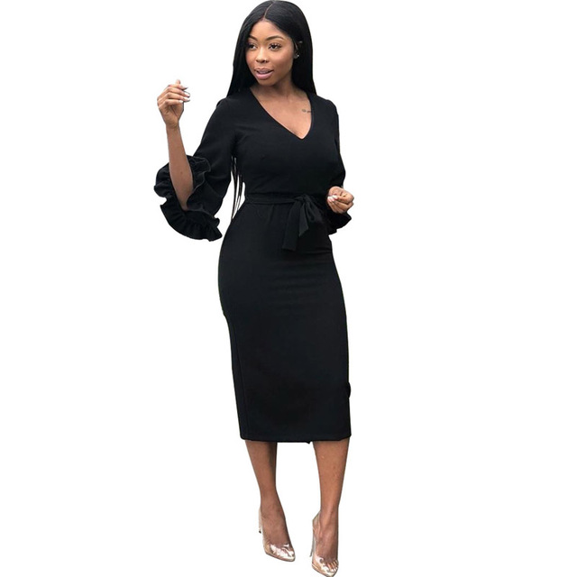 Autumn Dress Women 2018 Elegant New Arrival Runway Sexy V Neck Stretch  Bodycon Fashion Below Knee African Cocktail Midi Dress c7c9246340a8