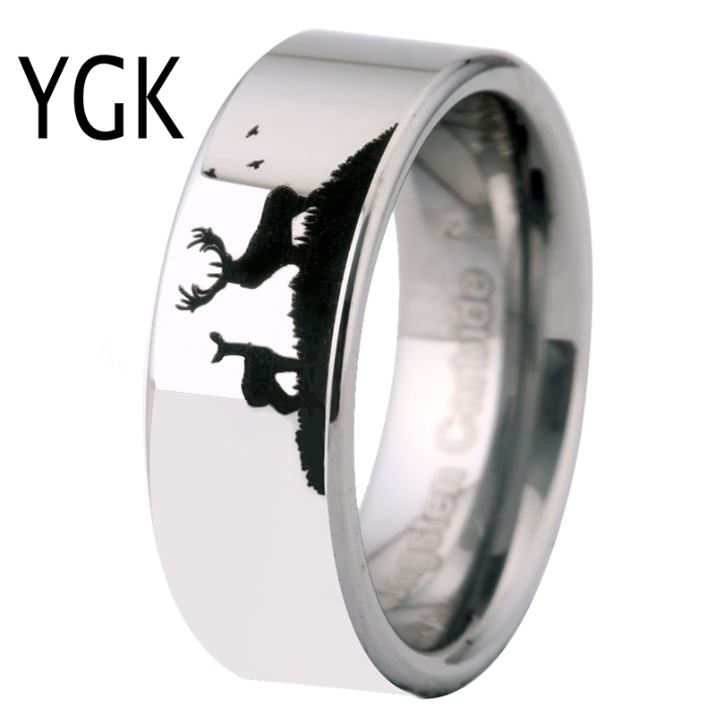 Black Tungsten Carbide Unicorn Ring 8mm Wedding Band Anniversary Ring for Men and Women Size 11.5