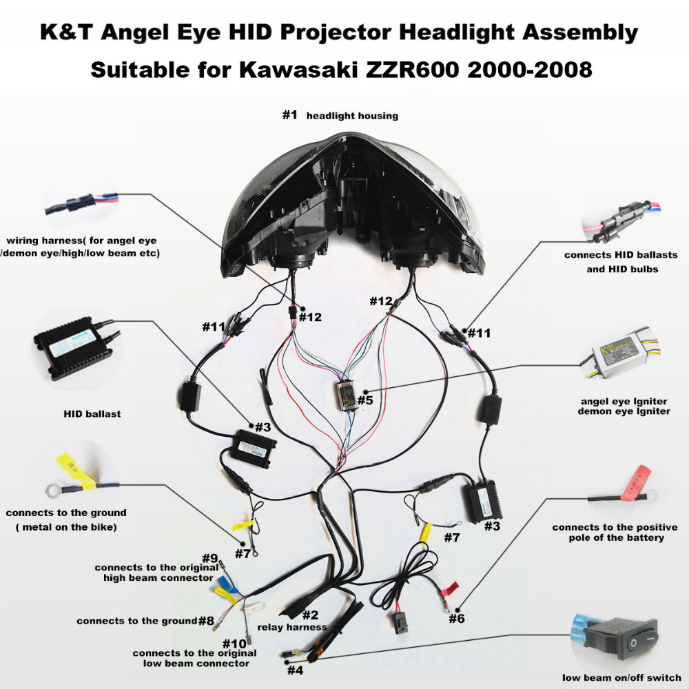 Aliexpress.com : Buy KT Headlight for Kawasaki ZZR600 2000 2008 LED Angel  Eye Motorcycle HID Projector Assembly 01 02 03 04 05 06 07 from Reliable ...
