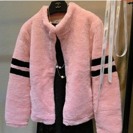 Des F761 Fourrure Veste Moutons Femmes Mérinos black Tonte Gray Gratuite Manteau pink Épaisse Pelt D'hiver Pleine Naturel De Dhl beige Livraison Mouton TzIvw
