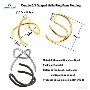 X Cross Helix Piercing Earring Orelha Stainless Steel Helix Ring Lip Fake Piercing Ear Pircing 1