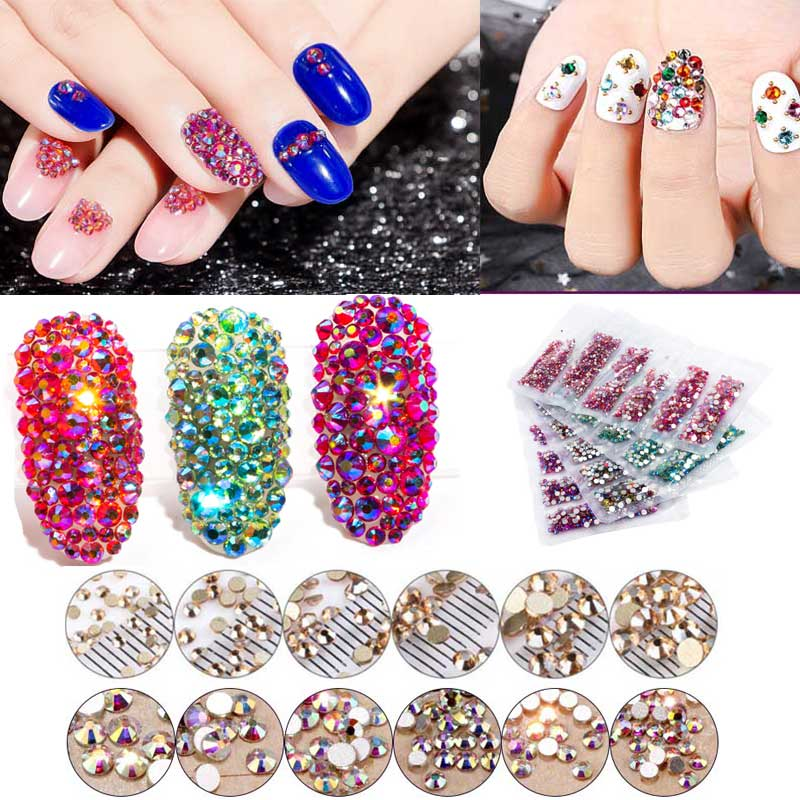 1 Pack Flatback Glass Nail Rhinestones Mixed Sizes SS3-SS12 Nail Art  Decoration Stones Shiny Gems Manicure Accessories Tools 48974e4eae6f