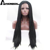 Anogol High Temperature Fiber Brazilian Hair Afro Wigs Long Straight Braids Black Synthetic Lace Front Wig For African American