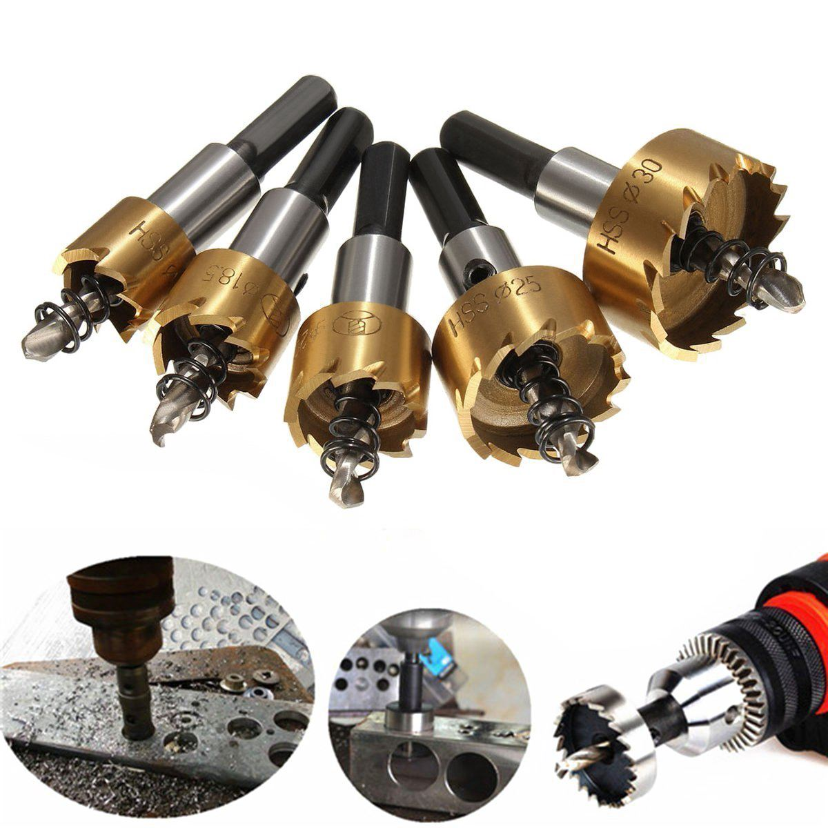 5pcs 16-30mm High Speed Steel Drill Set Meche Cutter For Drilling Cylindrical Saw - Gold