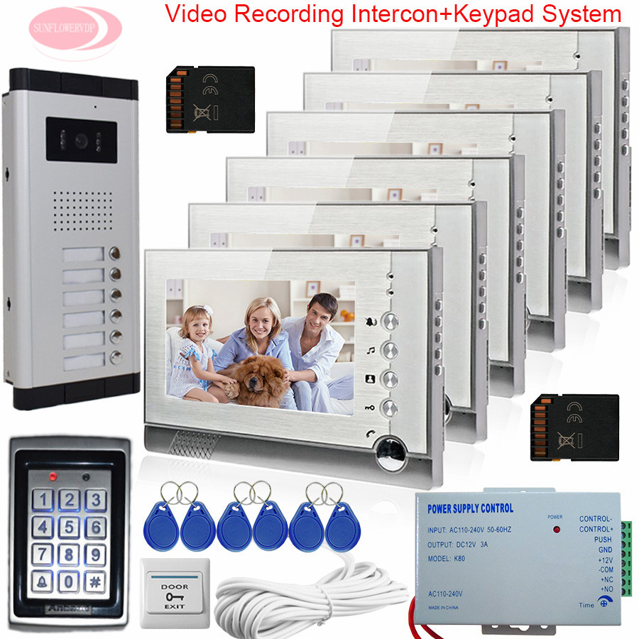 7'' Monitor For Video Intercom With Recording Video Video Intercom For A Private House SD Card +Keypad Access Control System 6v6 private l a