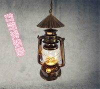 Nordic kerosene lantern vintage bronze chandelier lamp aisle lights , wrought iron and creative restaurant bar lighting GY65