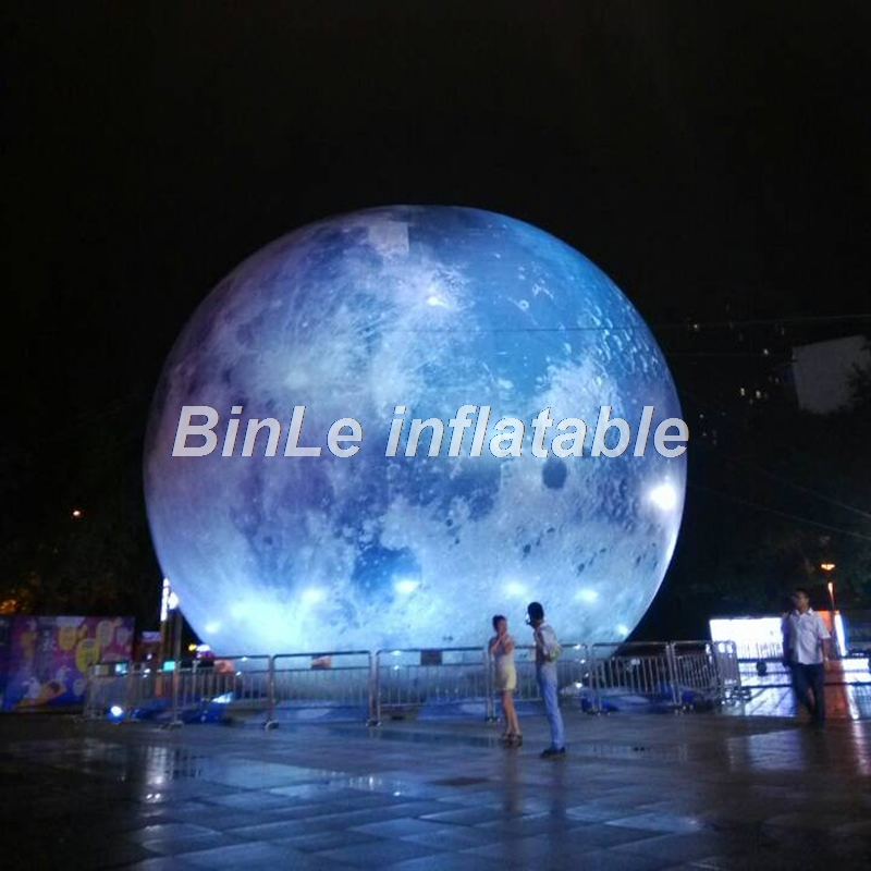 Hot sale Mid-autumn festival giant inflatable moon ball with led light high resolution printed global balloon for events 2 5m diameters led lighting inflatable moon ball promotional hanging decoration blow up balloon type moon replica toys
