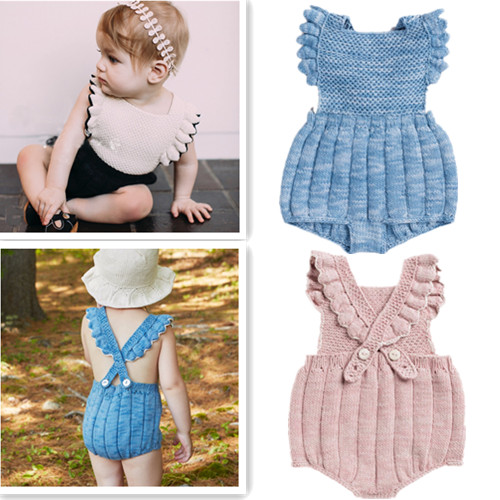 1b78b2829fcd Очаровательные детские для маленьких девочек Комбинезоны для малышек  трикотажные оборками и бантом модная детская одежда принцессы Детский  комбинезон на ...