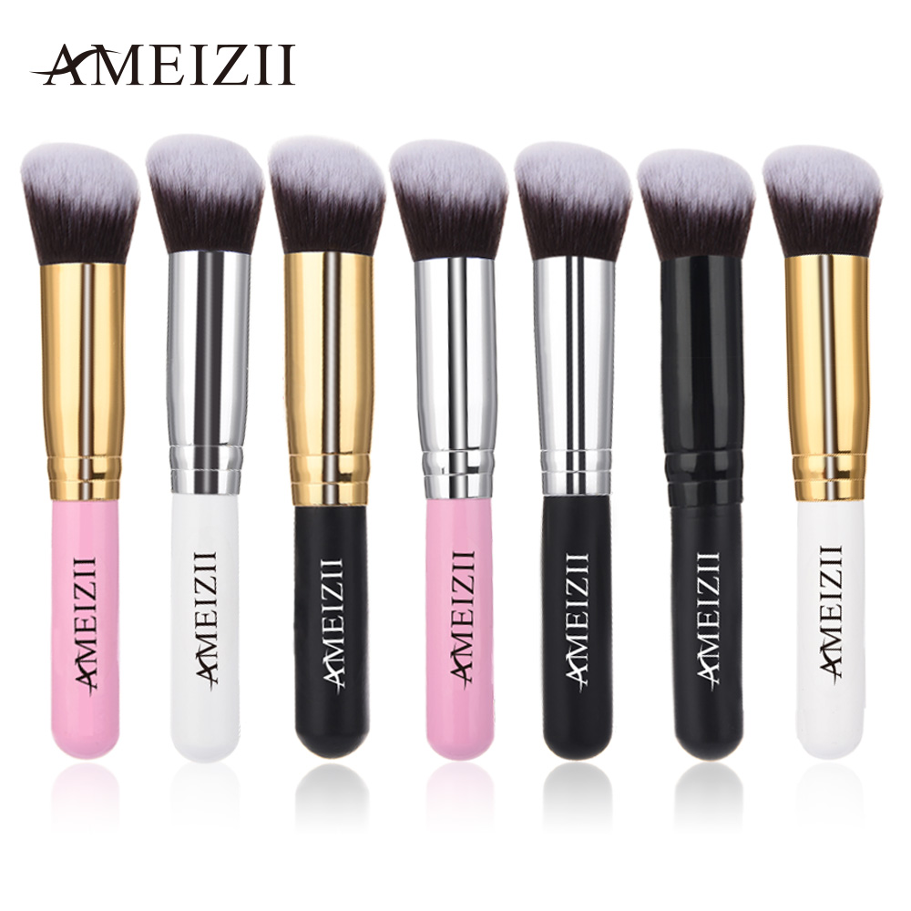 AMEIZII Women Lady Cosmetic Makeup Brushes Oblique Head Multi-function Eyeshadow Concealer Foundation Powder Blush Brush 7Color fulljion 1pcs oblique head blush brush multi function foundation powder makeup brushes cosmetics tools wood handle 7 colors