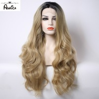 Aurica Ombre Blonde Heat Safe Synthetic Hair Lace Front Wig with Brown Roots