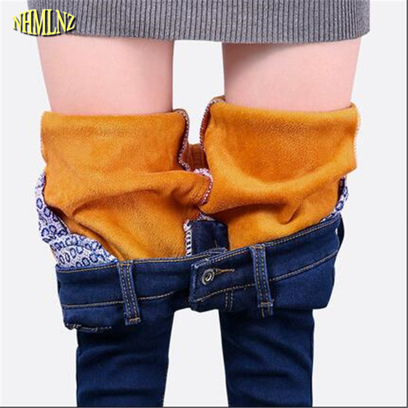Women Winter   Jeans   New Fashion Women Trousers Add wool Thick   Jeans   Warm Large size Slim Casual   Jeans   Charm Women clothing G2858