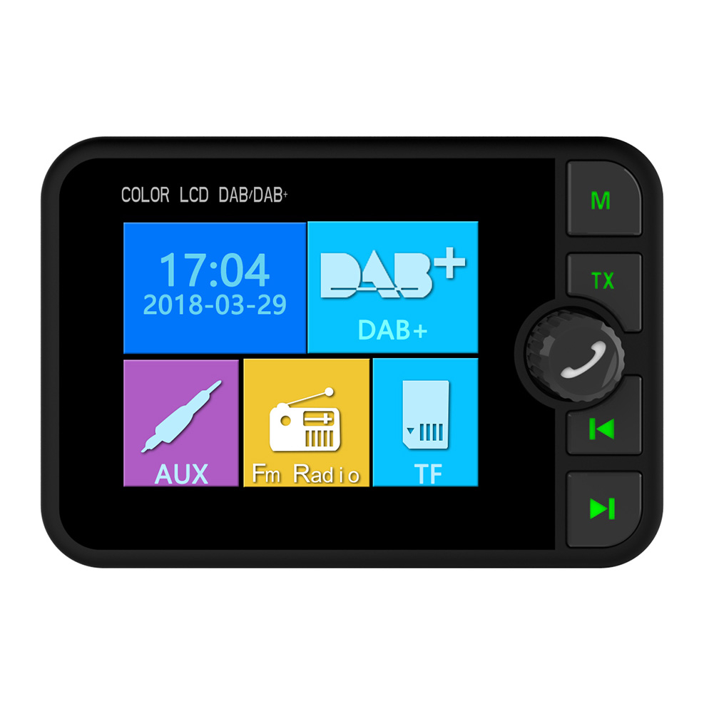 DAB Wide View Stereo Digital Magnetic Music Streaming Car Radio Electronics MP3 Bluetooth FM Transmitter Color
