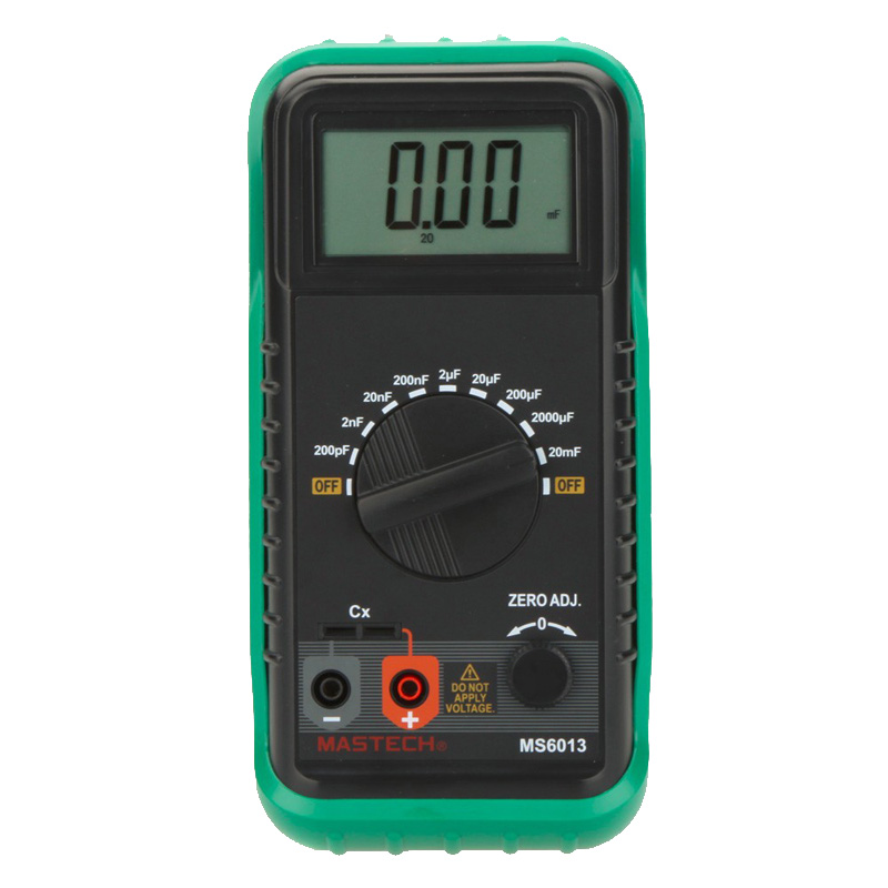 MASTECH MS6013 (MY6013A)  Digital Capacitance Meter Capacitor Tester 200pF to 20mF 1999 Counts Portable 3 1/2
