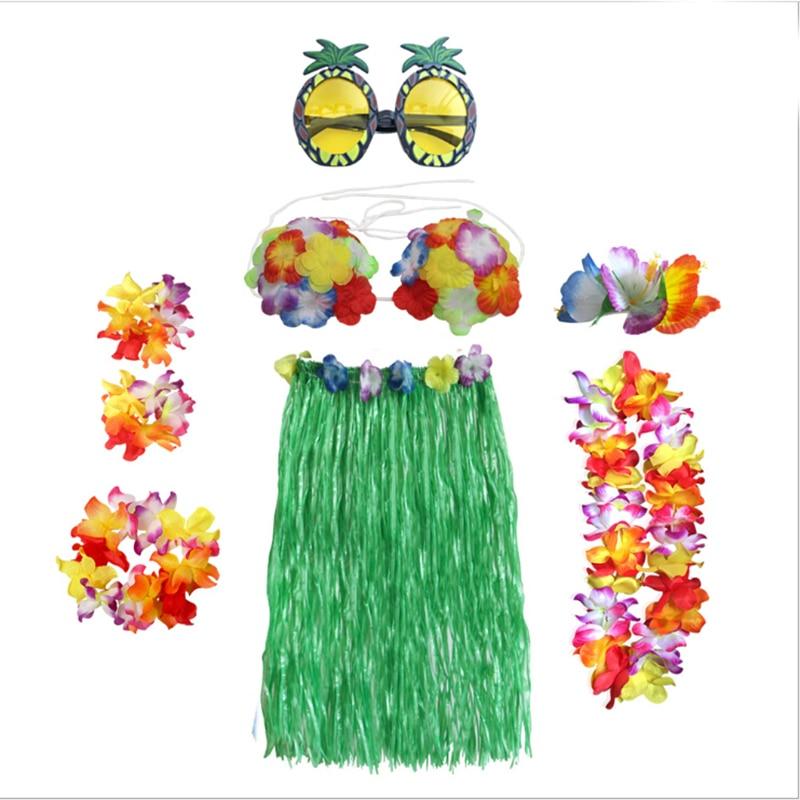 8 Uds. Fibras de plástico vestido de baile hula fiesta Hawaii playa disfraz de hierba falda de flores niñas mujeres moda hawaiana gran venta de faldas