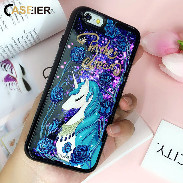 CASEIER Luxury Quicksand Phone Case For iPhone 7 Cute Patterned Gily Cases For iPhone X 8 6 6s Plus Funda Couque Accessories