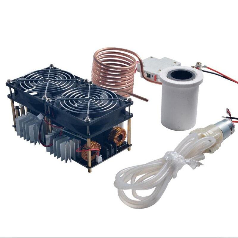 1800 W Placa PCB Máquina de Aquecimento Aquecedor de Indução De Aquecimento Por Indução ZVS Derretido Mayitr + Cadinho de Metal + Bobina + Bomba + Ppower Alimentação