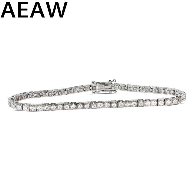 Trendy Style Solid 10K 2.5CTW Yellow/White Gold DF Color Moissanite Lab Grown Diamond Bracelet Charm for Women