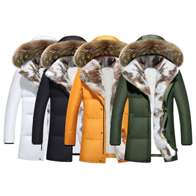 Winter   Down     Coat   Women Flocking Thicken Jackets Hooded Tops Plus size Men Female Rabbit fur collar White duck   down     Coats   N316