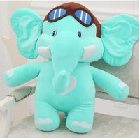 middle size cute plush elephant toy blue cartoon flying elephant doll gift about 45cm