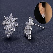 2017 new arrival hot sell shiny CZ diamond zircon flower 925 sterling silver ladies`stud earrings wholesale gift jewelry women