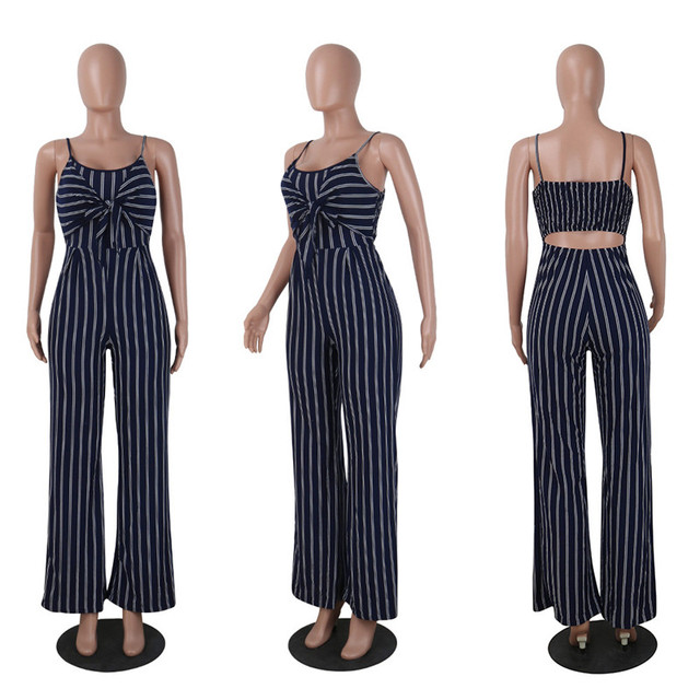 2019 Elegant Striped Sexy Spaghetti Strap Rompers Women Sets Sleeveless Backless Bow Casual Wide Legs Jumpsuits Leotard Overal 3