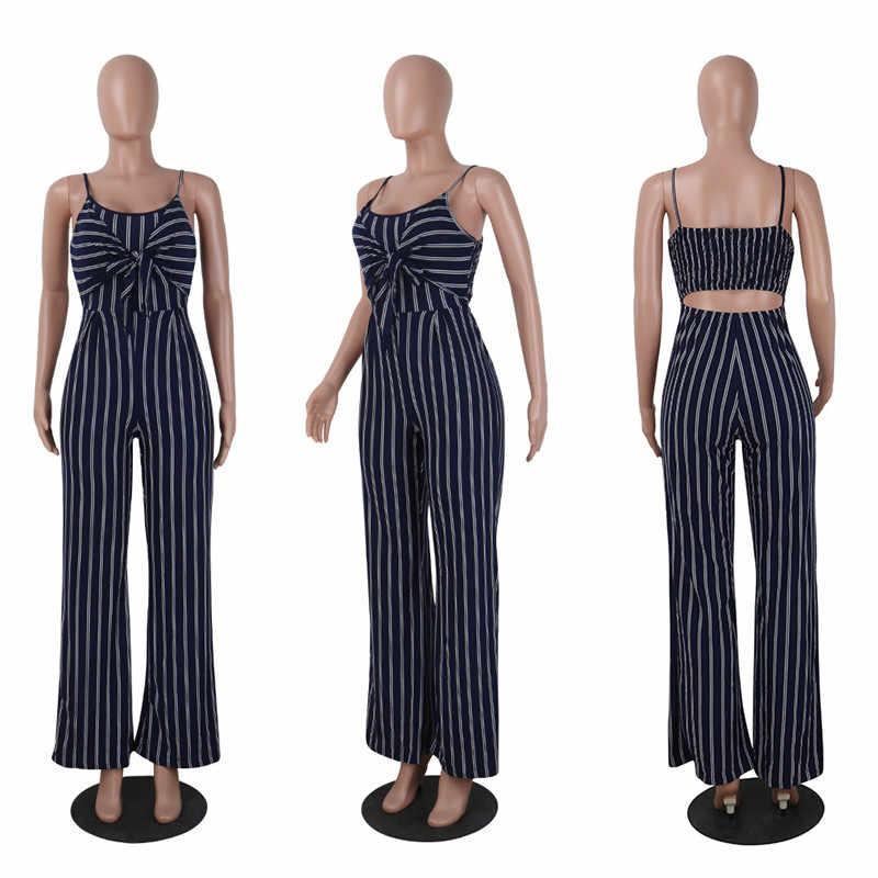 2019 Elegant Gestreiften Sexy Spaghetti Gurt Strampler Frauen Sets Ärmel Backless Bogen Beiläufige Breite Beine Overalls Trikot Overal