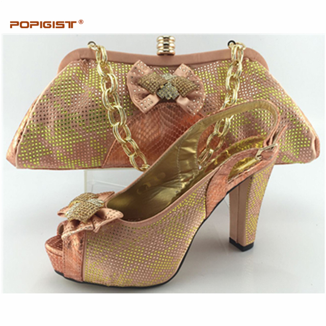 Fashion Peach Color Women High Heels Pumps African Shoe and Bag Set African Weddings  Shoe and Bags Shoes and Bags To Match
