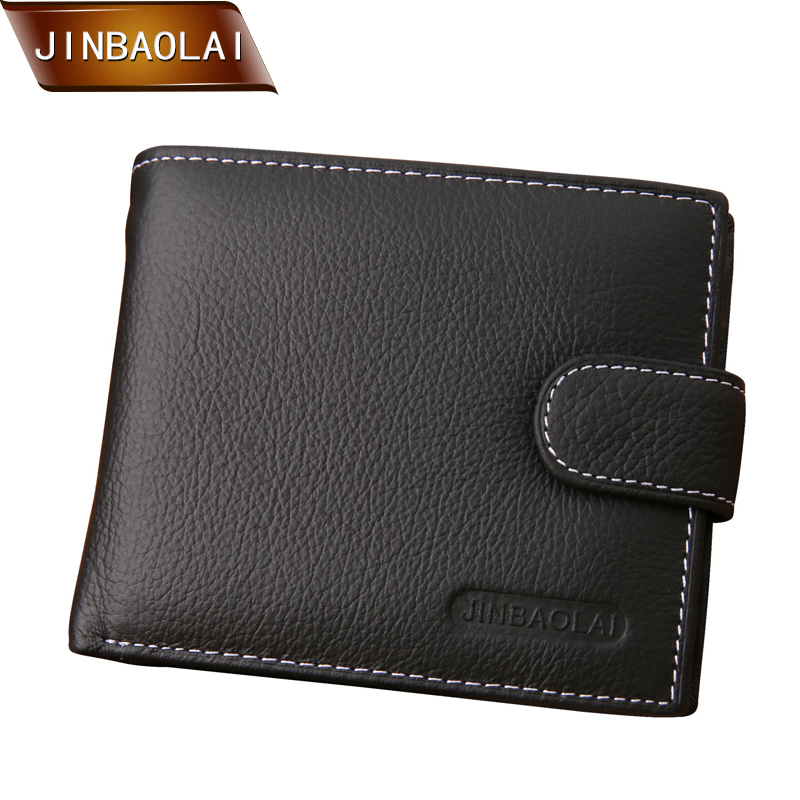 JINBAOLAI Famous Brand Men Wallets Male Genuine Leather Wallet Designer Men Wallet With Coin Pocket Card Holder for men carteira