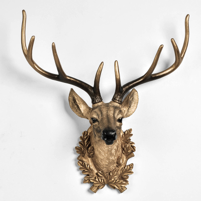 Deer Head Decoration Nordic Style Zhaocai Town House Animal Head Wall Hanging Three-dimensional Wall Backwall Cculpture Statue