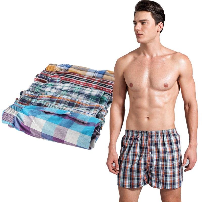 5 pcs/Lot Loose Shorts male panties Cotton Plaid men underwear Cuecas boxers Shorts