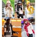 3 Pcs Inverno Quente Mulheres Conjunto Gorro De Esqui Chapéu + Lenço + Luvas de Tricô de Lã Wraps