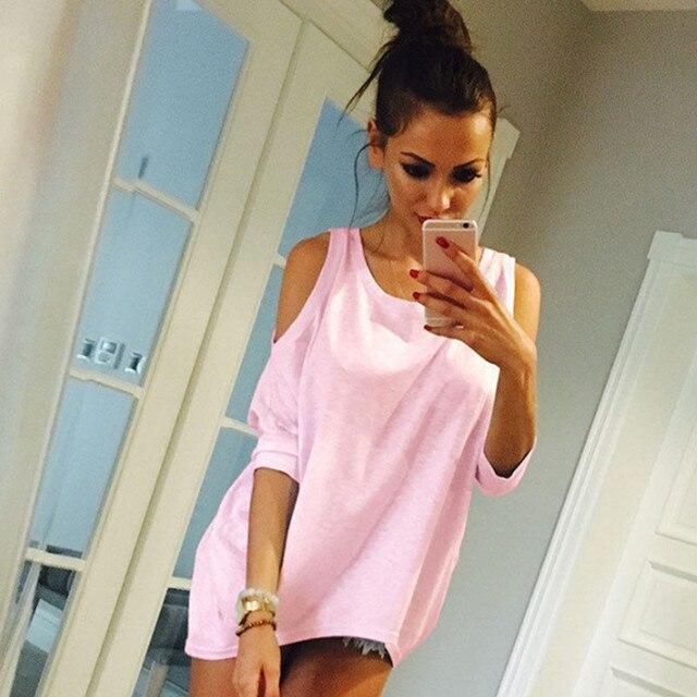 Bigsweety New Women T-Shirt 2018 Fashion O-Neck Off Shoulder Sexy Long TShirt Womens Top Tees Loose Casual T-shirt Plus Size 5XL