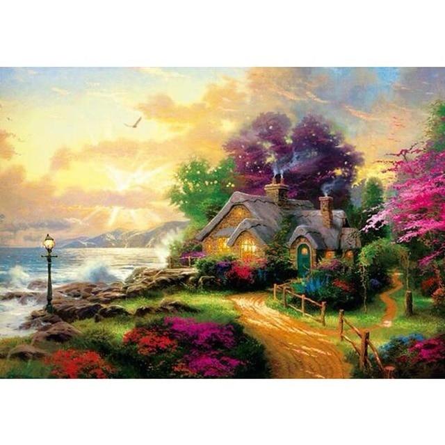 1000 pièces Puzzle Paysage Adulte Épais Histoire Maison Puzzles Pour Enfants Adultes Jouet ...