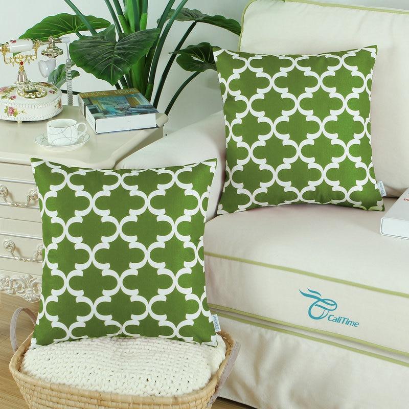 2PCS Square CaliTime Olive Green Cushion Cover Pillows Shell Quatrefoil Accent Geometric Home Sofa Decor 18 X 18(45cm X 45cm)