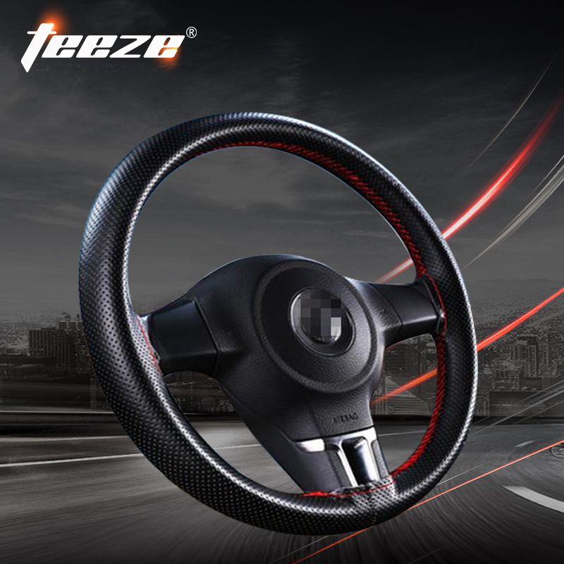 Steering-wheel Fashion DIY leather steering wheel cover 38cm car-styling twine ruly steering wheel for lanser ford focus 2