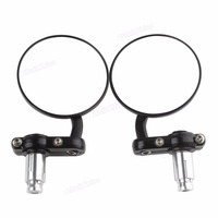 Motorcycle Accessories Parts Side Mirrors Universal Black Motorcycle 3 Round 7 8 Handle Bar End Rearview