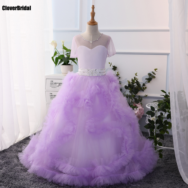 Bal des tourbillons de tulle enfants manches lavender robe de soiree 2017 ball gown swirls short sleeves evening dress child