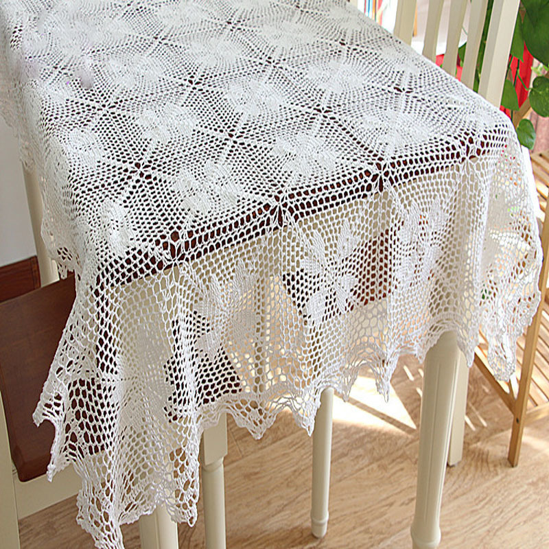 Vintage Pure Cotton Crochet White Hook Heart Rectangle Round
