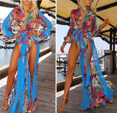 Y Womens Summer Painting Long Maxi Evening Party Beach Dresses Chiffon Cover Up Dress