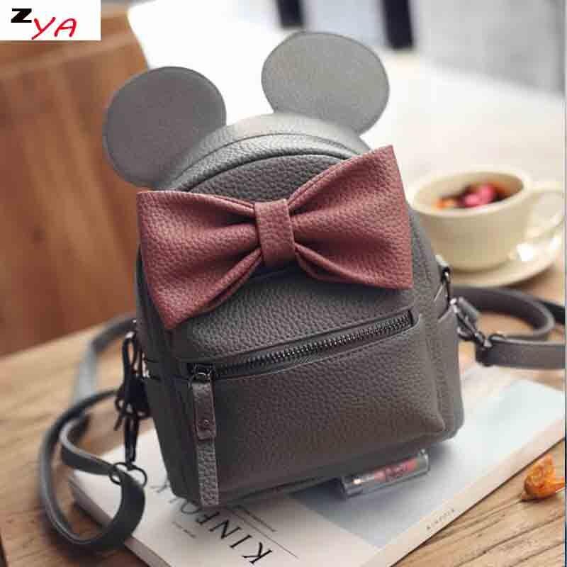 Mickey Ear Women Backpack 2017 Cartoon mochila for girls boys Quality Small Backpacks  bow minnie Rucksack cute bag for teenage