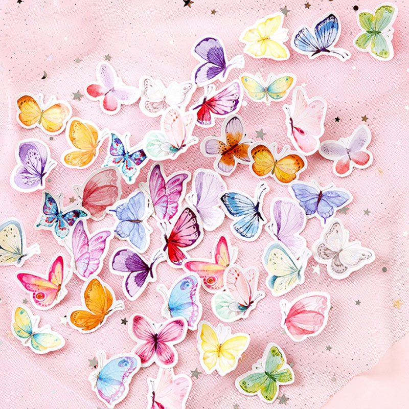 46pcs/box Color Butterfly DIY Sticker child diary sticker Photo album decoration stickers office stationery School Office Supply46pcs/box Color Butterfly DIY Sticker child diary sticker Photo album decoration stickers office stationery School Office Supply