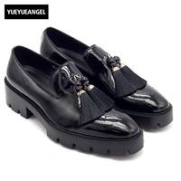 Новое поступление слипоны лоферы с кисточками Для мужчин обувь на толстой платформе черный Mocasines Hombre Высокое качество кожи формальная обув